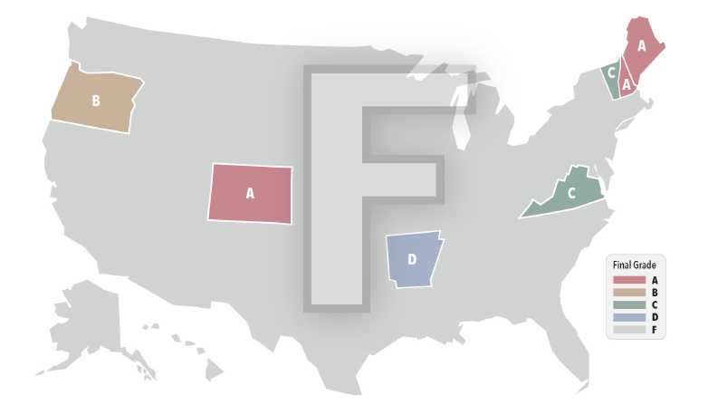 Map highlighting how states are graded on price transparency.